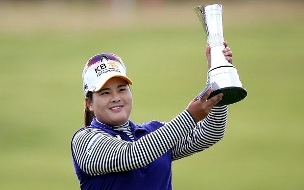 TURNBERRY, SCOTLAND - AUGUST 02:  Inbee Park of South Korea poses with the trophy following her victory during the Final Round of the Ricoh Women's British Open at Turnberry Golf Club on August 2, 2015 in Turnberry, Scotland.  (Photo by Jan Kruger/Getty Images)